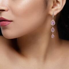 Κρεμαστό ροζ σκουλαρίκι